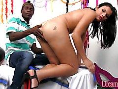 Super horny tranny girl enjoys orgasmic oral sex before she takes 2 hard dicks inside her ti...