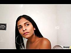 Hot shemale Jessi Martinez sucks and licks big penis  - clip # 02