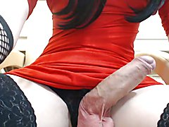 Skinny big cocked tgirl on chair  - clip # 02
