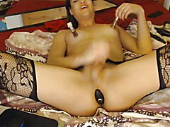 Horny Shemale Fucks Herself with Dildo  - clip # 03