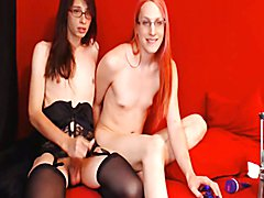 Two Horny Shemale Jerking Hard on Cam  - clip # 03