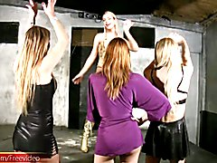 Evelin, Bia, Laviny and Alexia have a wild girls night out. These flirty shemales get dresse...