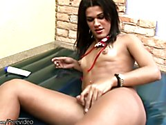 Petite brunette tgirl loves ropes and oil, lotion or anything that makes her shaft slippery ...