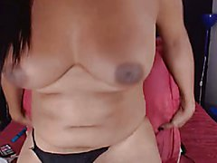 Busty Shemale Hottie Plays Her Long Cock