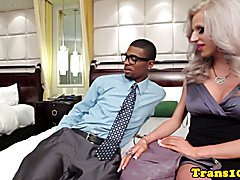 Facefucked tranny bottom getting barebacked and facialed to earn cash