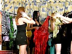 Four horny chicks with dicks enjoy shecock sucking orgy  - clip # 02