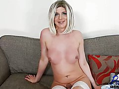 sexy British blonde porn star Sammi Valentine sits down and talks about her life & career af...