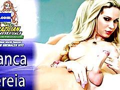 Latina tgirl beauty tugging her hard cock