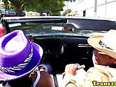 Pickedup gorgeous ladyboy spitroasted by black dudes