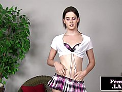 Solo uniform fembois jerks het stiff cock and toys her tight butt