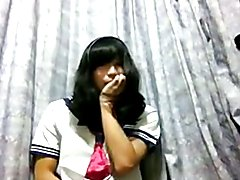Teen asian schoolgirl jerks and cums