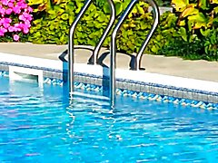 Leder im Pool