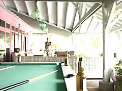 Cougar Shemale Playing on Pool Table