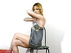 Blonde tranny with pretty boobs does hardcore masturbation