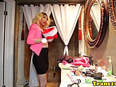 Latina tranny doggystyled until cumsprayed while husband watches then jerks off