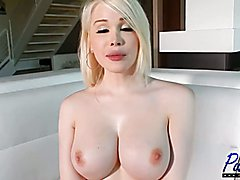 Watch busty blonde bombshell Sarina Valentina talk about her life and career after getting f...
