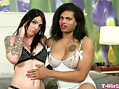 Inked tgirls buttfuck after loving foreplay
