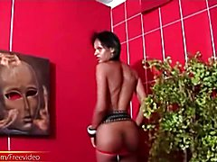 Here is a black femboy that certainly knows how to work that slender body for the camera and...