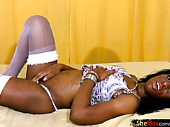 This gorgeous black skinned shemale hottie is Ana Beatriz Sanchez and you are going to love ...