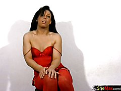 The color red never looked so good as it does on this naughty t-girl beauty. Brenda Lima is ...