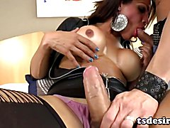 Aline Diniz is a busty shemale beauty who gets her shecock sucked hard before bending her ma...