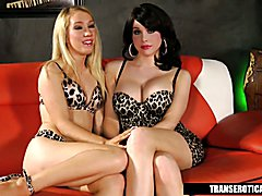 Nicki Blue plays with Shemale Sarina Valentina  - clip # 02