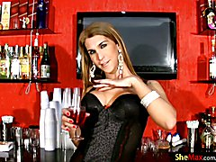 Would not you just enjoy having this long haired shemale cutie serving up the booze on game ...