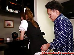 Asian uniformed cleaner cockriding after bj with this lucky guy