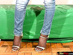 Black hair Latina shedoll strips off tight jeans and strokes  - clip # 02