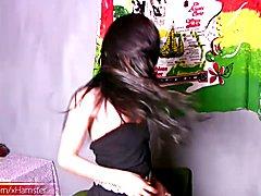 Filipino ladyboy strips down and strokes big cock in closeup  - clip # 02