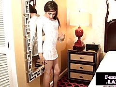 Sensual slender femboy queen strips and jerks her candy stick