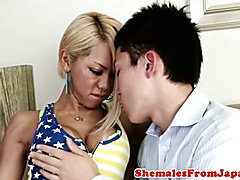 BIgtitted asian ladyboy blown before anal