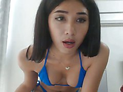 Horny ladyboy with nice tits spreads her asshole wide and jerking off her cock. Hottie shema...