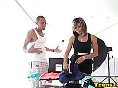Bigtitted latina tranny jerking her cock in the shower behind the scenes