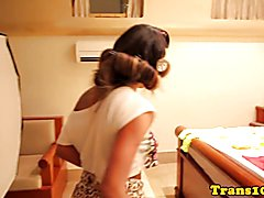 Busty brazilian tranny showing tanlines bts while getting ready for scene