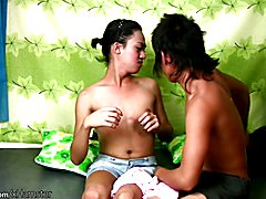 Extremely hairy Filipino TS sits on hard cock with her anal  - clip # 02