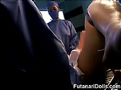 Hermaphrodite doctor's new creation is another hot futanari to fuck! Very hot threesome at t...
