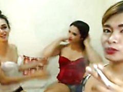 Bare naked sexy shemales are all horny and wild. Sucking each other's cock licking each ot...