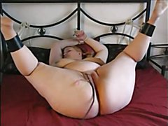 She was tied naked and toyed as struggle and started moaning and moving her fat ass left and...