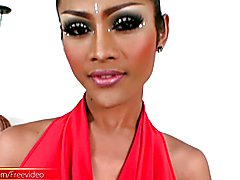 Erotic ladyboy model with sizzling looks, long dark hair and luscious body and a massive gir...