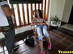 Brazilian tranny posing her round ass in sexy bikini behind the scenes