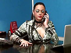 Hot tranny and submissive slave in a bdsm office meeting