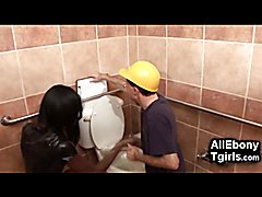 A poor old plumber gets the toilet bowl punishment from a hot black shemale domina! He has t...