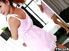 Asian redhead Toto masturbating on the bed