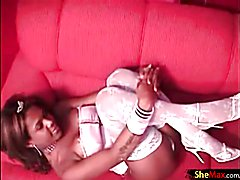 Black chick with dick shows off her fuckable ass and shecock  - clip # 02