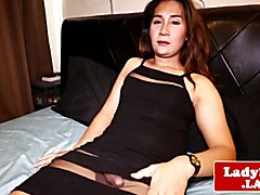 Solo ladyboy spreading her beautiful ass