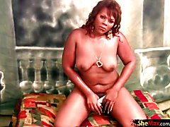 Oiled up ebony shemale spreads and shakes massive black ass  - clip # 02