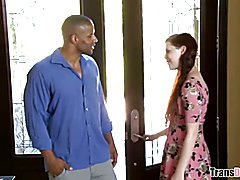 Redhead Aspen Brooks takes black cock