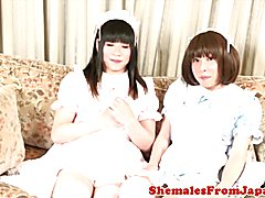 Japanese ladyboy twosome with stockinged tgal