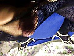 BBC Sissy Toria cum explodes fishnets pantyhose